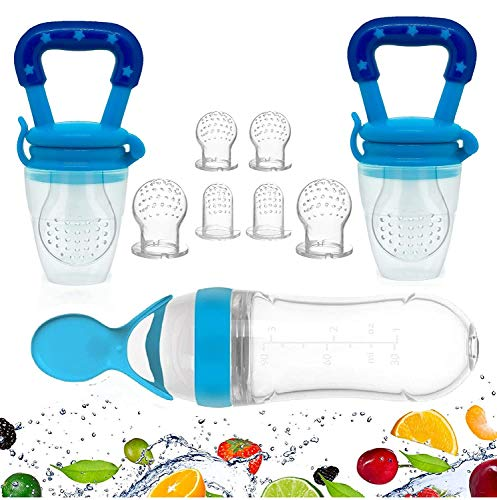 Gedebey Baby Food Feeder, Pacifier Fruit- 2 Pack Pacifiers, 1 Silicone Squeeze Spoon Bottle Fresh Frozen Fruit Teething Toys Nibbler Hygienic Cover Teeth with Meshes Sizes for Baby Food Spoon teether