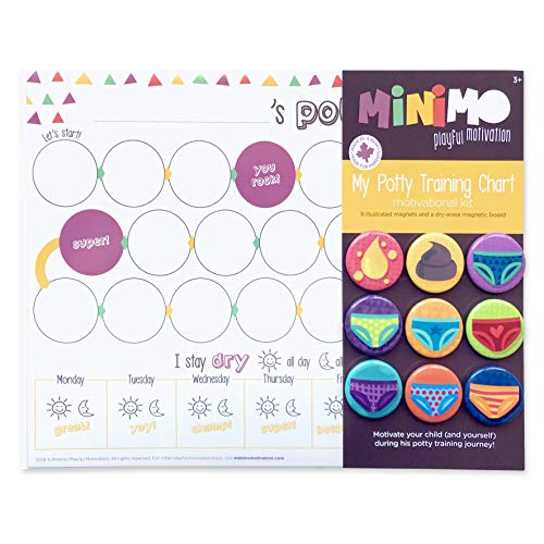 My Potty Training Chart Motivational Kit - Dry-Erase Magnetic Board and 9 Illustrated Magnets - Potty Training Motivation Chart