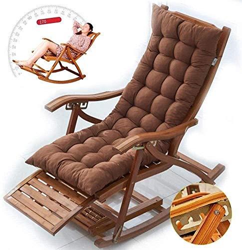 ZXCVB Tumbona reclinable de madera, silla de salón al aire libre, portátil, de gravedad cero, reclinable, sillas de jardín plegables para oficina, camping, patio, césped (color: marrón, tamaño: corto)