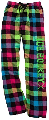 JANT girl Ice Hockey Neon Plaid Lounge Flannel Pant with Pockets (M)