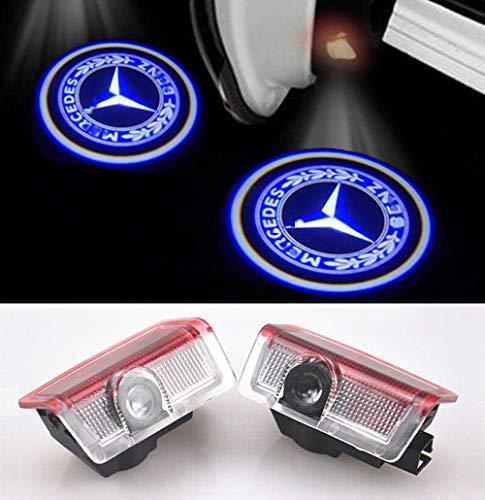 KVCH Willkommens Lampe,1 Paar LED-Höflichkeits-Lichter Einfache Installation Autotür Laser Projektor Logo drahtlose Geist Schatten Lichter für Benz M(W166) C(W205) E W212 GL