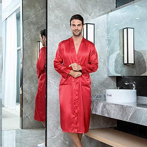 ASADVE Albornoces de Verano para Hombre, Talla Grande, cárdigan Largo para Hotel, Albornoces para Hombre, Pijamas Rojo_SG