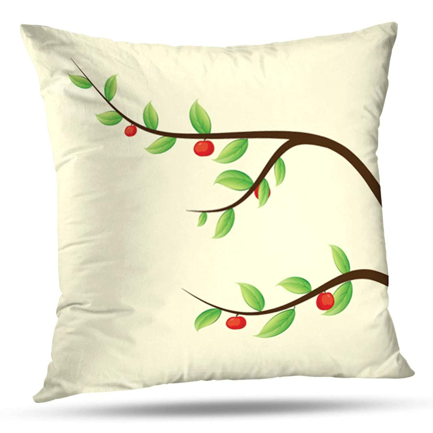 Alricc Apple Tree Branch Orange Fruit Autumn Brown Decoration Decorative Throw Pillows Cushion Cover for Bedroom Sofa Living Room 16X16 Inches