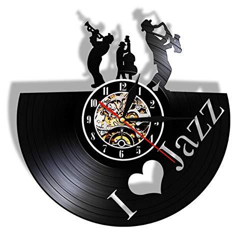 Wangzhongjie Jazz Music Player Schallplatte Wanduhr Blues Jazz Musik Note Art Decor...