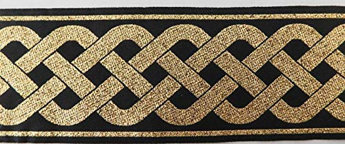 Jacquard Ribbon Trim 2' Woven Metallic Jacquard Ribbon tLAET Trim Tape Gold~Black~Celtic Knot Pattern~Reversible