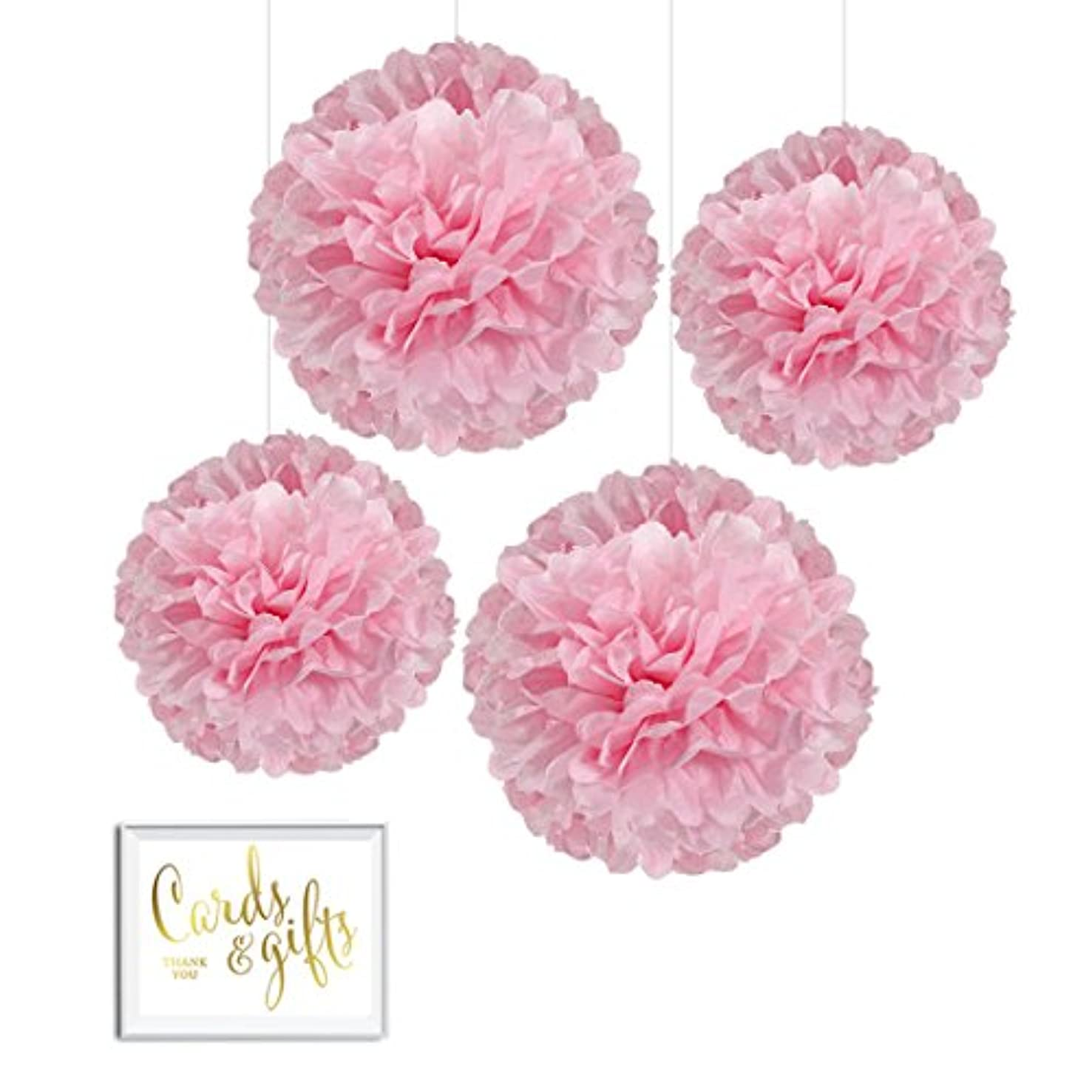 Andaz Press Tissue Paper Pom Poms Hanging Decorations with Free Gold Card & Gifts Party Sign, Blush Pink, 8-inch and 10-inch, 4-Pack, Girl Baby Shower Baptism Unicorn Colored Birthday Party