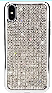 奢华时尚闪耀闪亮水晶莱茵石人造钻石柔软 TPU 电镀保护套,适用于 iPhone 7/8 Plus,X/XS,XR,XS *大含钢化玻璃屏幕保护膜 iphone XS Max 银色