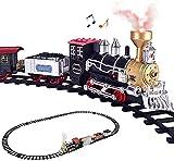 ZHLFDC Conjunto de Tren eléctrico de Coches de Juguete con Motor de Locomotora de Vapor, vagones, contenedores de carbón, Coches de pasajeros y Pistas, Juguetes de Tren de Navidad con Luces y Sonidos
