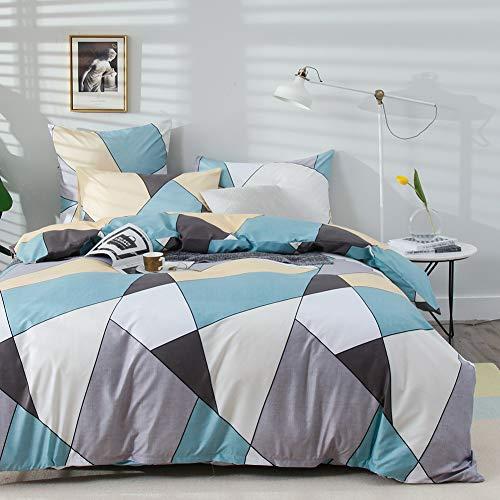 AShanlan Bettwäsche Set 220x240 cm Blau Grau mit Dreieck Geometrisches Muster 3 teilig 100% Mikrofaser Modern Wende Bettbezug mit Reißverschluss Kissenbezug 80x80 cm