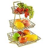 mossFlos Cesta de Frutas de 3 Pisos, Fruteros de Cocina, Cesta Metal (Dorado/A)