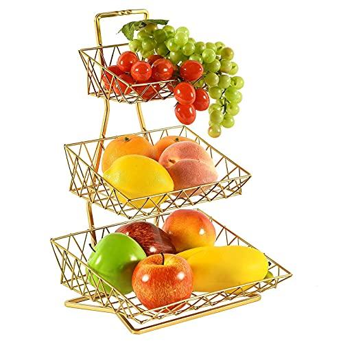 OneSide/Gold - Soporte para cesta de frutas, 3 niveles, organizador de frutas y verduras para cocina, color dorado