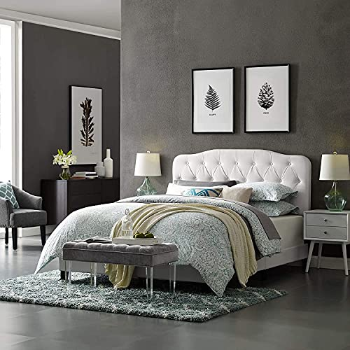 Oakestry Amelia Tufted Faux Leather Upholstered Full Platform Bed in White