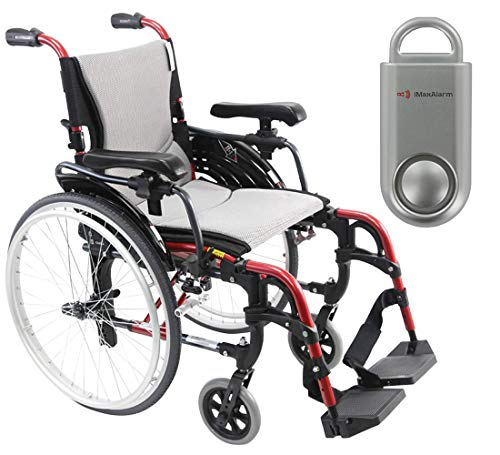 Karman S-Ergo 305 Ultra Lightweight Ergonomic Wheelchair | Adjustable Seat Height | Seat Size 18' X 17' | Frame Color Rose Red & Free 130 dB Silver Safety Alarm!
