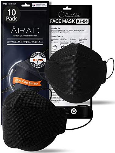 (10 Pack) AIRAID KF94 Mask Made in Korea with 4 Ply Layer Filter, Face Protective Mask [Individually Wrapped] - BLACK