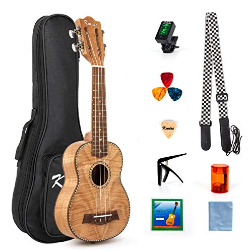 Classical Ukulele Kit Tiger Flame Okoume Wood for Beginner and Professional Player By Kmise (21 Inch Soprano)