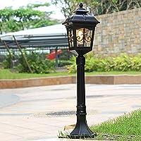屋外の芝生ライトE27ネジ口ポール街灯シンプルアルミレトロボラードライトIP65防水産業の柱のランプコートヤードガーデンライトグラスロードランプ