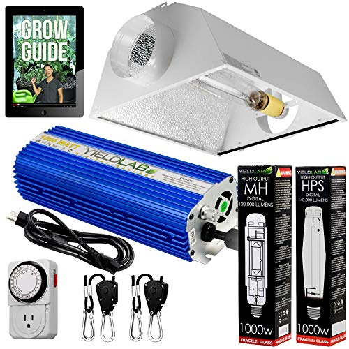 Yield Lab Horticulture 1000w HPS MH Grow Light Cool Hood Reflector Kit Easy Setup Full Spectrum System for Indoor Plants and Hydroponics – Free Timer and 12 Week Grow Guide DVD