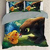 Elxmzwlob Anime Poke-mon Detective Pikachu Duvet Cover Set, Light Weight with Four Corner Straps, Decorative 2 Piece Bedding Set with 1 Pillow Sham, Queen Full Twin Size