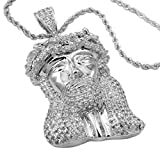 Niv's Bling - 18K White Gold Plated Jesus Piece - Iced Out CZ Hip Hop Pendant on Rope Chain, 30 Inches