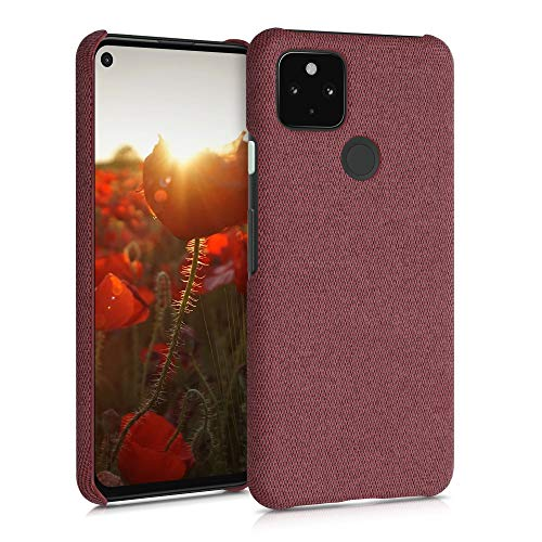 kwmobile Case Compatible with Google Pixel 4a 5G - Fabric Protective Canvas Back Cover - Coral Louisiana