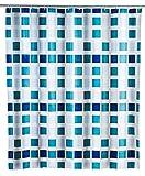 WENKO Duschvorhang Mosaik - wasserdicht, leicht zu pflegen, Polyethylen-Vinylacetat, 180 x 200 cm, Blau