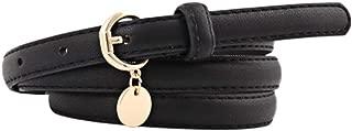 Women Leather Belt Simple Elasticity Comfortable Ladies Roundness Pendant Leisure Thin Leather Belt