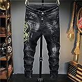 WoJogom Jean Perforado Adelgazante Informal Lavado Negro Personalidad Taladro Caliente Bordado Motocicleta Estiramiento Pierna Media Cintura Jean