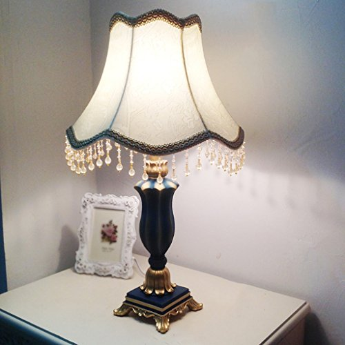 Bonne chose lampe de table Lampe de chevet méditerranéenne Moderne Minimaliste Chambre moderne européenne Bleu Dimmable Rétro American Village Lamp