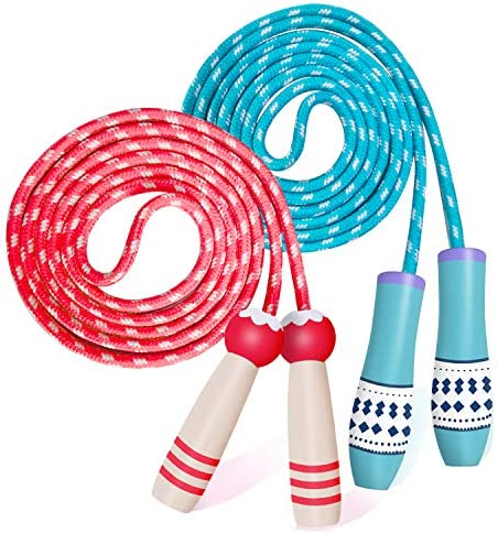 Adjustable Cotton Jump Rope for Kids Toddlers Skipping Fitness Wooden Handle Red Blue Ropes product image