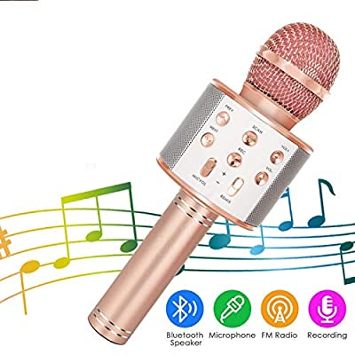 surpzon Wireless Bluetooth Karaoke Microphone 4 in 1 Mic Portable Handheld Karaoke Machine KTV Speaker Birthday Home Party Player with Record Function Christmas for PC Android & iOS All Devices by surpzon