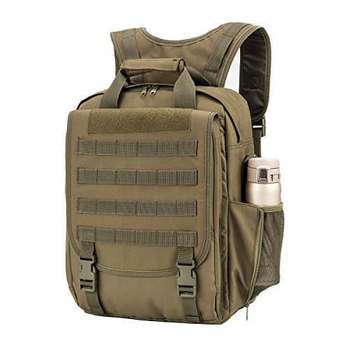 WolfWarriorX Lightweight Business Durable Computer Notebook Backpack MOLLE System Multi-function Military Tactical Water Resistant Laptop Backpacks Bag for Men, Women (O.D Green)