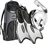 Cressi Italian Designed Premium 180° Full Face Snorkel Mask with Advanced Breathing System - Panoramic Side Snorkel Set Design - and Palau Long Snorkeling Fins and Snorkel Set Gear Bag, WT/SL - ML