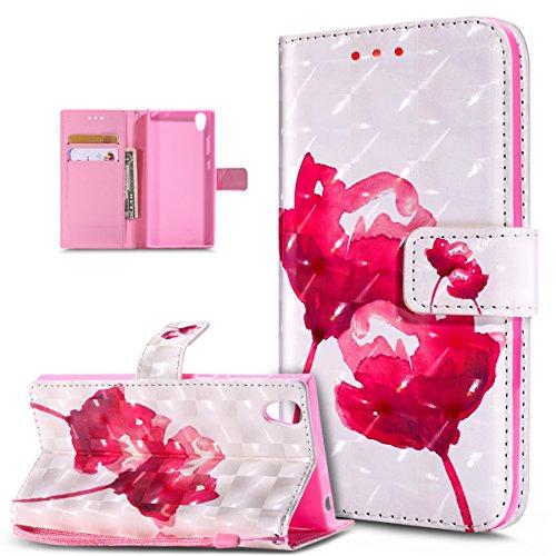 Kompatibel mit Schutzhülle Sony Xperia L1 Hülle Handyhülle Leder Hülle,3D Bunte Gemalte Schmetterlings Muster PU Lederhülle Flip Ständer Wallet Handy Hülle Tasche Handy Tasche Schutzhülle,Rosa Lotus