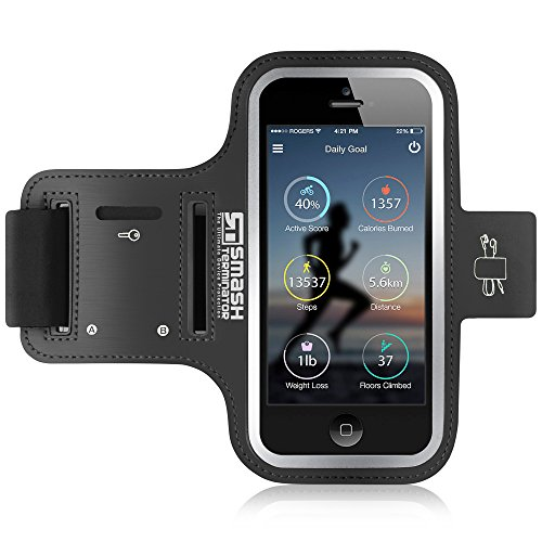 Running Armband for iPod Touch (All Generations) Sweat-Proof Running Phone Armband Sports Armband Phone Holder for Running Exercise Gym Sports - Also Compatible with iPhone 4s/5s/5c/SE (Black)