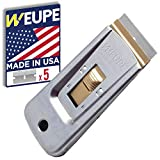 WEUPE Razor Blade Scraper Tool: Window Scraper, Glass Cooktop Scraper & Paint Scraper, Car Decal, Sticker and Glue Remover Razor Holder with 5 Replaceable Single Edge Blades