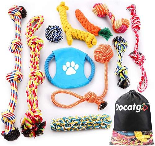 Docatgo Set di Giocattoli per Cani, 1 Borsa di stoccaggio + 11 Pezzi Giocattoli di Rafforzato Corda da Masticare per Cuccioli Cani di Taglia Media e Grande, Cane Interattivo Giocattoli Non tossici