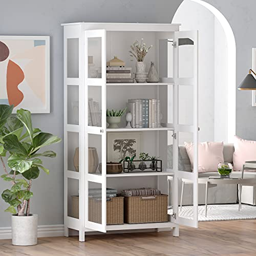 """FAMAPY Tall Bookcase Storage Cabinet with 4-Tier Shelves & 2 Glass Doors, Wooden Bookshelf Organizer for Living Room Bedroom White (35.4""""L x 16.5""""W x 70.9""""H)"""