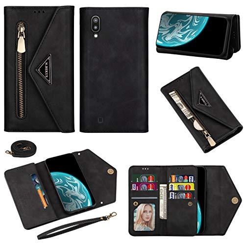 Vepbk - Funda tipo cartera para Samsung Galaxy A10, funda para teléfono móvil, funda de piel con cierre de cremallera, tarjetero, correa para el cuello para Galaxy A10, color negro
