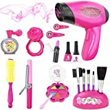 Liberty Imports Stylish Girls Beauty Stylist Set – Complete Play Pretend Hair Salon Station Gift Playset with Toy Blow Dryer, Curler, Mirror, Make Up & Other Styling Tools (18 Pieces)