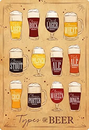 Metalen bord 20x30cm overzicht biersoorten lichte pils magazijn bok ale beer schild