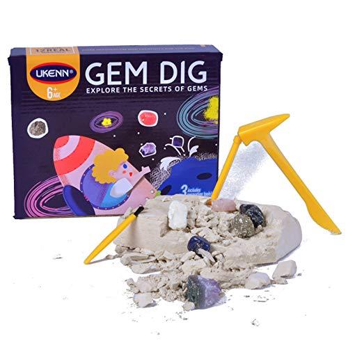 XIMIN 24pc Felsen Mineralien Lagerung Geschenkbox Blind Box, Edelsteine Archäologische Schätze Puzzle Erkundung Naturerzabbau, Rock Collection Edelstein Dig Kit Spielzeug Für Kinder (A)