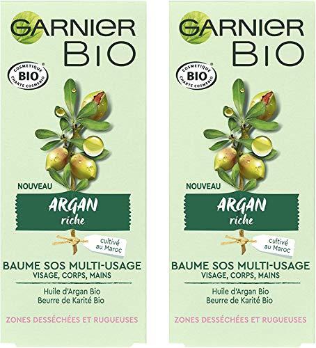 Garnier Bio - Baume SOS Multi-Usage - Argan Riche - Zones Desséchées et Rugueuses - 50 ml - Lot de 2