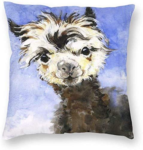 BONRI Hermoso Alpaca Funda de Almohada Única Funda de Almohada Cojines Creativos Fundas con Cremallera Funda de Almohada con Estampado Decorativo para el Hogar para Sofá Sofá , (16'x16 / 40x40cm