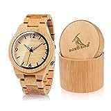 BOBO BIRDメンズ竹木製腕時計数字スケールクォーツ腕時計軽量カジュアルスポーツ時計、光るナイトシルバーポインターギフトボックス