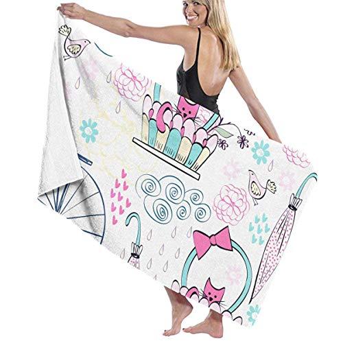 N/A Vintage Kat Fietsmand Volwassen Microvezel Strandhanddoek Oversized 31x51 Inch Sneldrogend Zeer Absorberend Multifunctioneel Gebruik Badhanddoek voor Vrouwen Mannen
