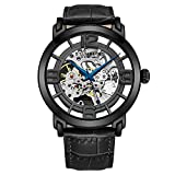 Stuhrling Original Skeleton Black Mens Watch - Winchester Mechanical Automatic Watch Self Wind Mens Dress Watch - with Premium Black Leather Band