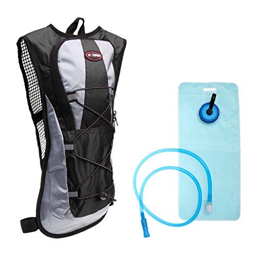 MagiDeal 5L Sac à Dos d'Hydratation Imperméable en 600D Polyester avec Poche à Eau de 2L pour Randonnée Vélo Extérieure - Noir, 43 x 21 x 5cm