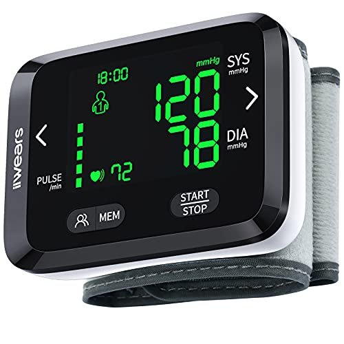 iiwears Blood Pressure Monitor BP Monitor with Dual 99 Sets Memories Adjustable Wrist Cuff LCD Backlight Display Blood Pressure Cuffs for Home Use