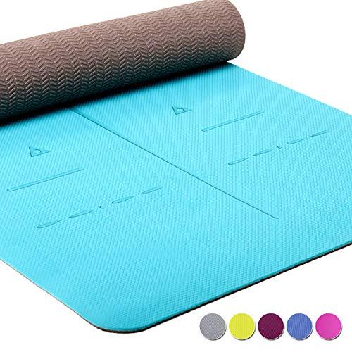 Heathyoga Yogamatten ECO-TPE-Matte, rutschfest, Ausrichtungs-System, 183 x  66 cm  x 0,6cm DE (Teal)