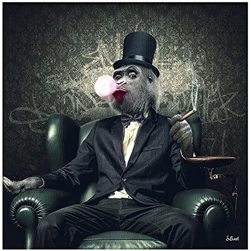 Monkey In Suit Canvas Painting Poster y Monkey Smoking A Cigar Prints Pintura Cuadros de pared para sala de estar Decoraciones para el hogar -50x50cm Sin marco